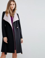 Ted Baker Contrast Long Wrap Coat