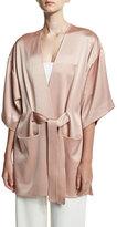 Halston Satin Kimono Wrap Jacket w/ Topstitched Sash, Light Beige