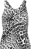 Norma Kamali Leopard-print stretch-jersey tank