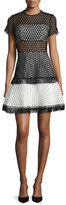 Alexis Cinthia Short-Sleeve Eyelet Mesh Mini Dress, Black/White
