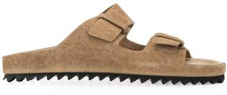 Officine Creative ridged sole suede sliders