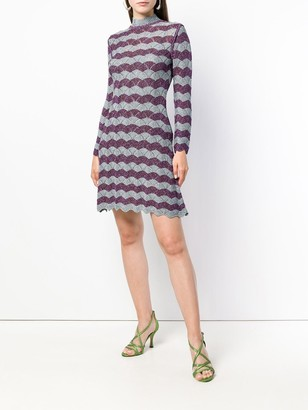 ALEXACHUNG scallop knit A-line dress