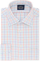 Eagle Men's Classic/Regular Fit Non-Iron Flex Collar Blue & Orange Check Dress Shirt