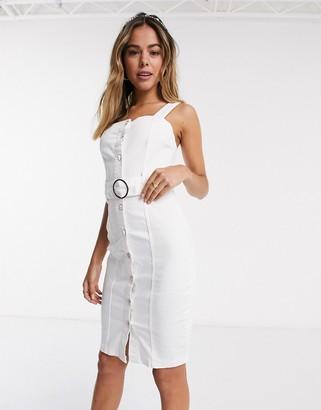 Lipsy belted denim midi dress in white