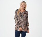 Tolani Collection Printed Woven Long-Sleeve Top with Keyhole