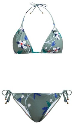 Thorsun Alex Floral Print Triangle Bikini - Womens - Khaki Multi