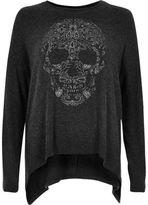 River Island Womens Grey skull print hanky hem top