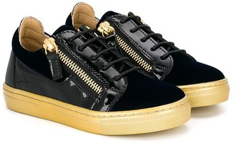 Giuseppe Junior Patent Leather Panel Lace-Up Sneakers