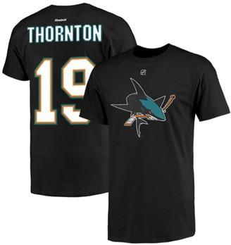 Reebok Mens San Jose Sharks Joe Thornton Black Name & Number T-Shirt