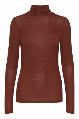 Ichi Philuca Long Sleeve Roll Neck Burnt Henna - XS