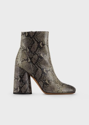 Emporio Armani Booties In Python-Print Leather
