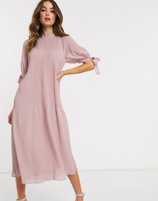 ASOS DESIGN pleated trapeze midi dress with tie sleeves in mink