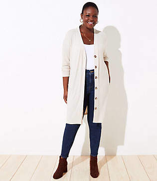 LOFT Plus Long Ribbed V-Neck Cardigan