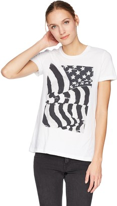 Lucky Brand Women's Flag Graphic TEE with Ruched Back