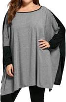 Tootu Home Clothing Tootu Fshion Women Plus Size Splicing Slit Top O-Neck Blouse Without Necklce XL-5XL (XXL, )