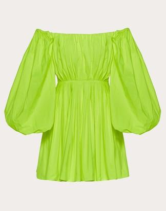 Valentino Short Dress In Pop Taffeta Women Florescent Yellow Elastane 100% 48