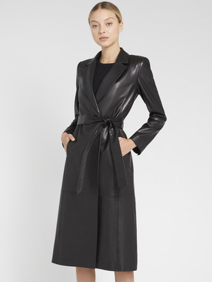 Alice + Olivia Karley Leather Flare Wrap Coat
