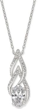 Eliot Danori Silver-Tone Cubic Zirconia Pendant Necklace, Created for Macy's