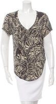 Torn By Ronny Kobo Leaf Print High-Low Top