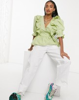 Thumbnail for your product : Monki Vella organic cotton wrap frill blouse in green