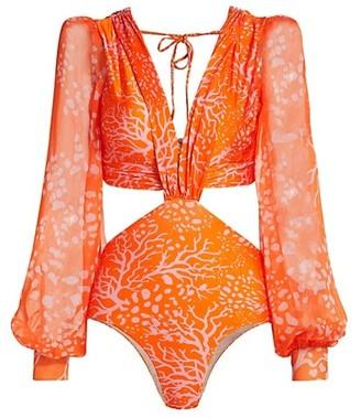 PatBO Coral Print Cutout Bodysuit