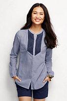 Classic Women's Lace Trim Blouse-Navy Royal Stripe
