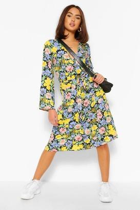 boohoo Floral Print Button Front Midi Dress