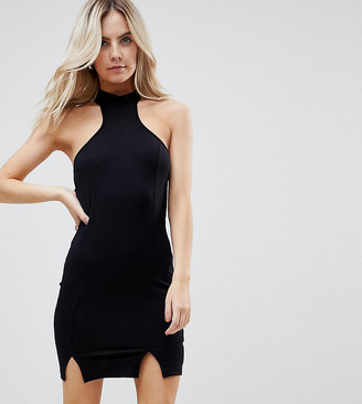 Asos Choker Neck Mini Bodycon Dress with Splits