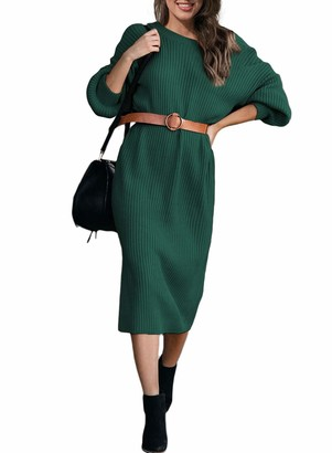 AlvaQ Womens Solid Long Sleeve Knitted Jumper Dress Stretchable Midi Knee Length V Cut Backless Casual Sweater Dress Red