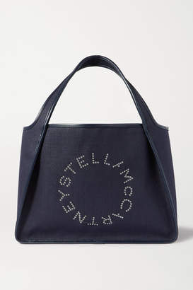 Stella McCartney Eyelet-embellished Faux Leather-trimmed Linen-canvas Tote - Navy