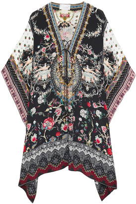 Camilla Lace-up Crystal-embellished Printed Silk Crepe De Chine Coverup