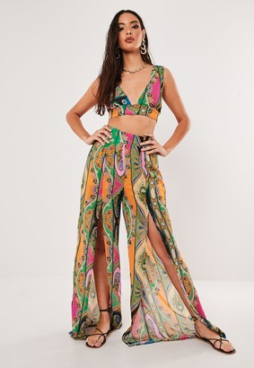 Missguided Pink Paisley Print Co Ord Floaty Chiffon Split Front Palazzo Trousers