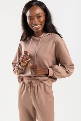 francesca's Terrie Lurex Tassel Sweatshirt Hoodie - Brown