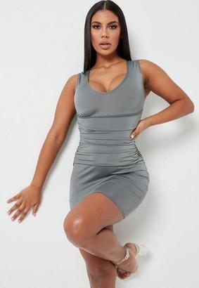 Missguided Gray Slinky V Neck Drape Mini Dress