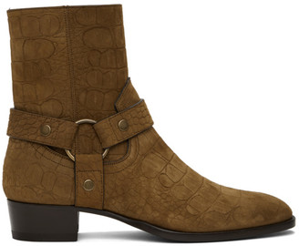 Saint Laurent Brown Croc Wyatt Harness Boots