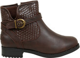 Yours Clothing Brown Whipstitch Ankle Boot In EEE Fit