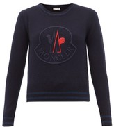 Moncler Logo-embroidered Wool-blend Sweater - Womens - Navy Multi