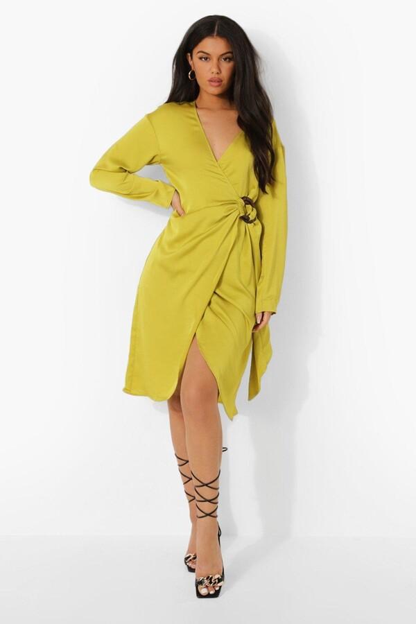 Thumbnail for your product : boohoo Midi Satin Wrap Shirt Style Dress