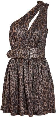retrofete Kayla Leopard Lame Mini Dress