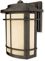Bed Bath & Beyond Galen Outdoor 1-Light Fixture with Umber-Linen Glass and Imperial Bronze Finish