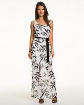Le Château Tropical Print Chiffon Maxi Dress