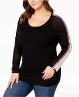 Belldini Plus Size Striped Colorblock Sweater
