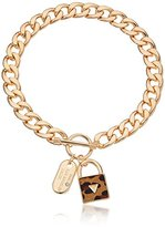 """GUESS Basic"""" Gold Dogtag and Padlock Pendant Necklace"""