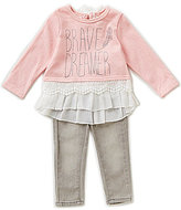 Jessica Simpson Baby Girls 12-24 Months Chiffon and Lace Trim Top & Denim Jeans Set