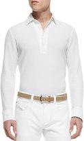 Loro Piana Huck Lace Long-Sleeve Polo, White