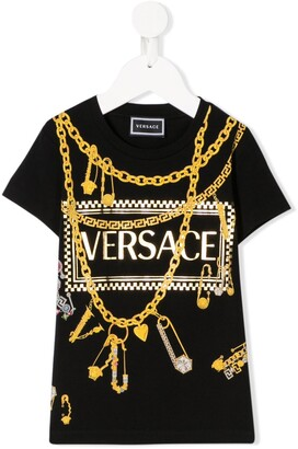 Versace chain-print branded T-shirt