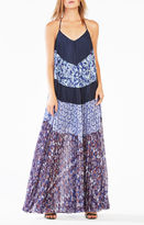 BCBGMAXAZRIA Juna Pleated Print-Blocked Maxi Dress
