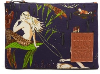 Loewe Paula's Ibiza - Mermaid Printed Canvas Pouch - Burgundy Multi
