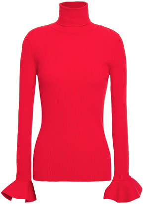 Valentino Fluted Ribbed-knit Turtleneck Top