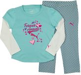 "Puma Toddler Girl Forever Awesome"" Mock-Layer Tee & Polka-Dot French Terry Pants Set"